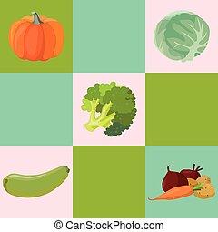 Vegetables: Pumpkin, cabbage, broccoli, zucchini, beets, carrots, potatoes