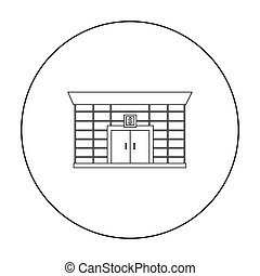 Bank icon outline. Single building icon from the big city...