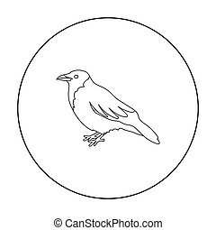 Crow icon in outline style isolated on white background....