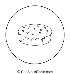 Bilberry cake icon in outline style isolated on white...