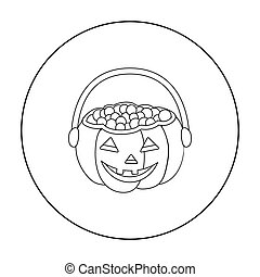 Halloween bucket icon in outline style isolated on white...