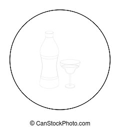Vermouth icon in outline style isolated on white background....