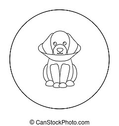 Sick dog vector icon in outline style for web