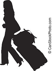 girl carrying trolley - silhouette of a fashion girl...
