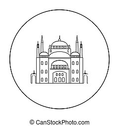 Cairo Citadel icon in outline style isolated on white...