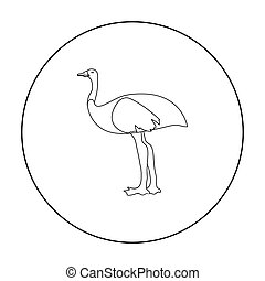 Emu icon in outline style isolated on white background....