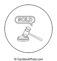 Auction hammer icon in outline style isolated on white background. E-commerce symbol stock vector illustration.