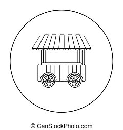 Snack cart icon in outline style isolated on white...