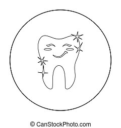 Smiling tooth icon in outline style isolated on white background. Dental care symbol stock vector illustration.