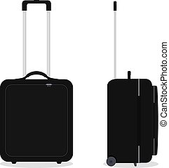 Vector black travel bag or suitcase. Isolated on white.