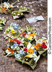 Prayer Offerings at Gua Gajah, Bali, Indonesia - Image of...