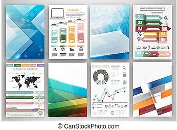 Vector infographic icons and blue polygonal backgrounds