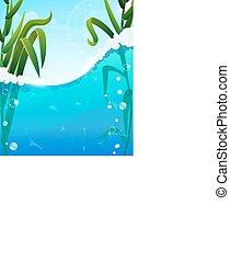 River and aquatic plants - Foaming river wave and aquatic...