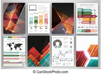 Vector infographic icons and abstract polygonal backgrounds...