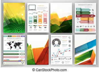 Infographic icons and abstract backgrounds - Vector set of...