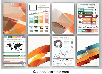 Vector infographic icons and orange polygonal backgrounds