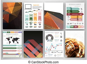 Vector infographic icons and dark polygonal backgrounds