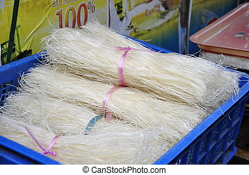 Noodles in blue box - Rice Noodles on the market in Nha...