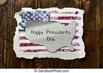 flag of the US and text presidents day