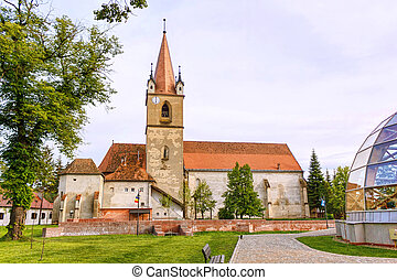 Hungarian catholic church with garden, targu mures, romania