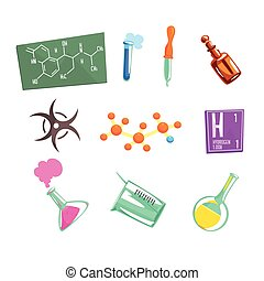 Chemist Scientist And Chemical Science Related Icons And...