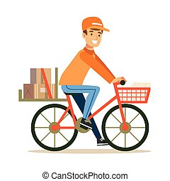 Delivery Service Worker Delivering Boxes With Bycicle,...