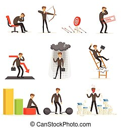 Business Fail And Manager Suffering Loss And Being In Debt Set Of Buncrupcy And Company Failure Vector Illustrations