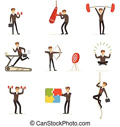Businessman Working Out In Gym, Metaphor Of Business Preparation Training Set Of Illustrations