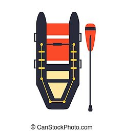 Grey And Red Inflatable Raft With One Peddle, Part Of Boat...