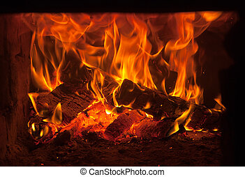 fire in the furnace - Burning fire wood in the brick furnace