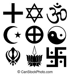 Religious symbols from the top organised faiths of the world...