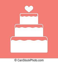 Stacked wedding cake dessert with heart topper flat color...