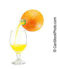 Orange juice pouring into a glass isolated on white