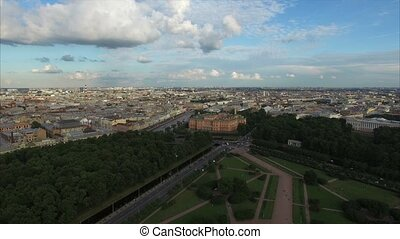 Michaels castle in Saint-Petersburg aerial shot
