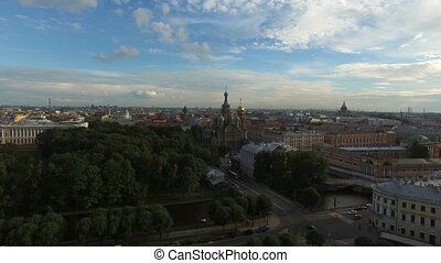 Church of the Savior on blood in Saint-Petersburg aerial...