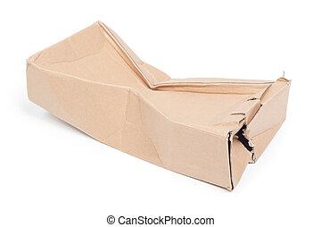 caixa, Danificado, papelão