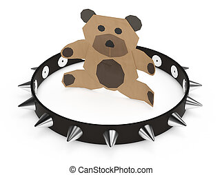 concept of wrong tool - little bear made with paper, with a...
