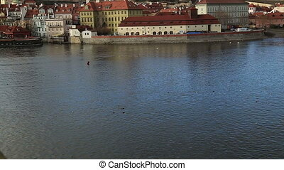 View of the prague castle and vltava river - Panoramic view...