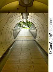 Underpass under the busy street in Singapore