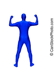Mysterious blue man in morphsuit