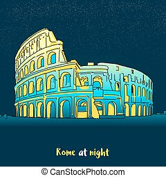 Rome Colosseum Skyline at night, hand-drawn Panorama Vector...