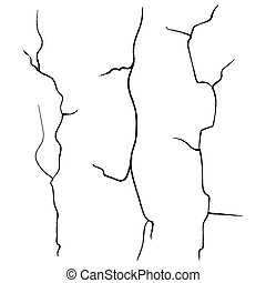 Wall Cracks Vector. Set Isolated On White Background.