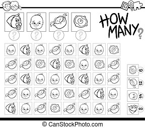 counting babies coloring page - Black and White Cartoon...
