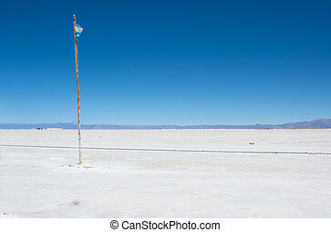 Salinas Grandes and flag of Argentina