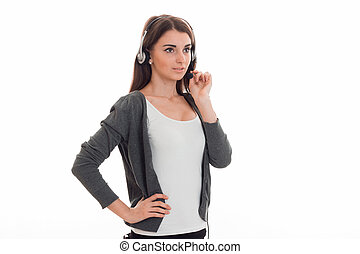 young beauty business lady with headphone and microphone in...