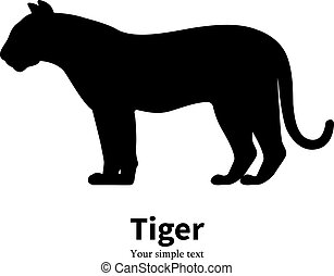 Vector illustration of black silhouette of a tiger. Isolated...