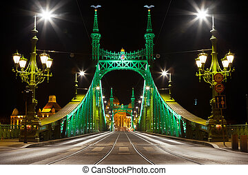 Eastern side of Liberty Bridge connecting Buda and Pest...