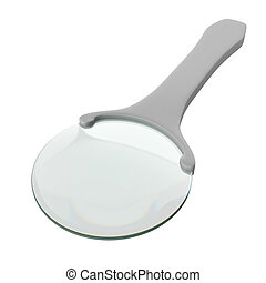 Magnifying glass isolated on a white background, 3D...