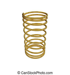 Metal spring isolated on white, 3D rendering, illustration