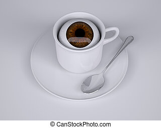 coffee cup with eyeball inside, 3d illustration